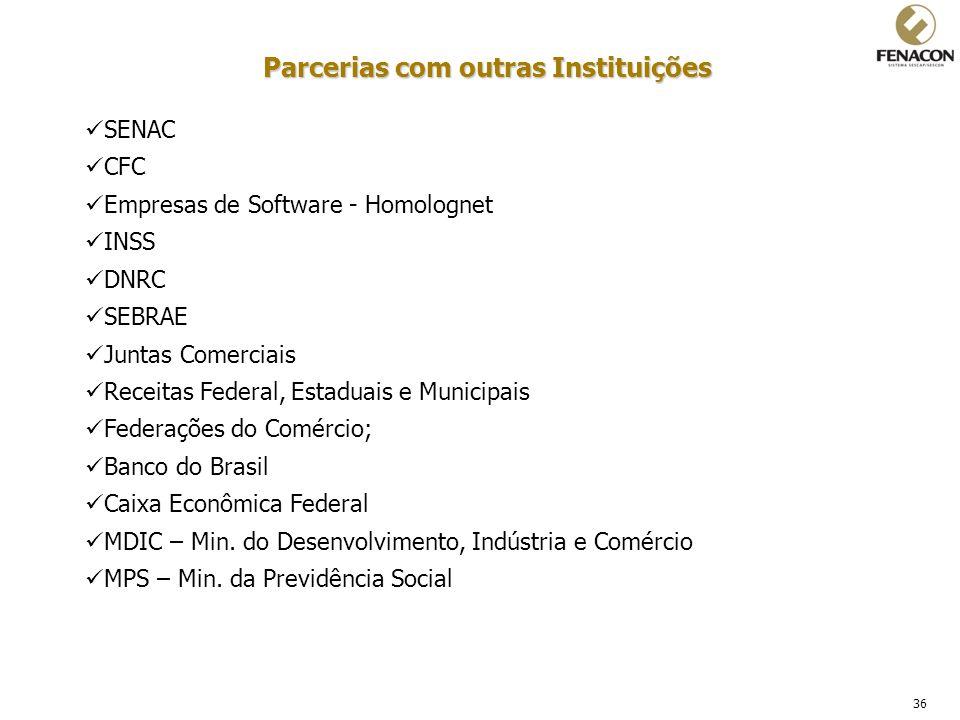 36 Parcerias com outras Instituições SENAC CFC Empresas de Software - Homolognet INSS DNRC SEBRAE Juntas Comerciais Receitas Federal, Estaduais e Muni
