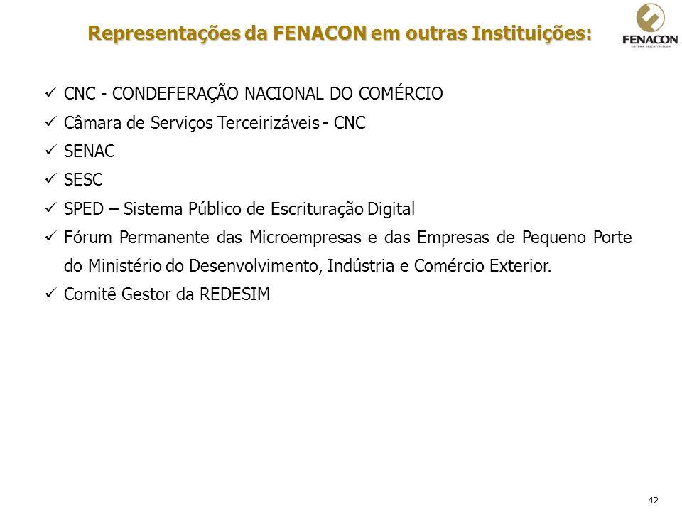 42 Representações da FENACON em outras Instituições: CNC - CONDEFERAÇÃO NACIONAL DO COMÉRCIO Câmara de Serviços Terceirizáveis - CNC SENAC SESC SPED –