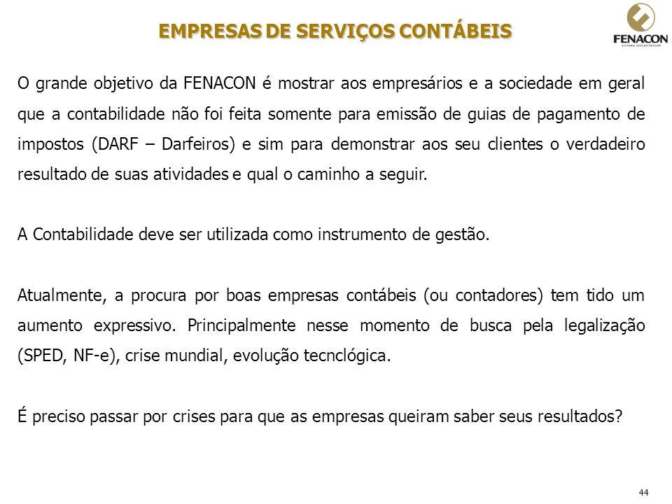 44 EMPRESAS DE SERVIÇOS CONTÁBEIS O grande objetivo da FENACON é mostrar aos empresários e a sociedade em geral que a contabilidade não foi feita some