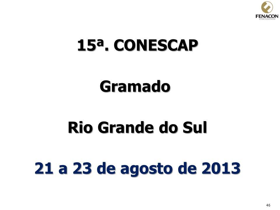 46 15ª. CONESCAP Gramado Rio Grande do Sul 21 a 23 de agosto de 2013