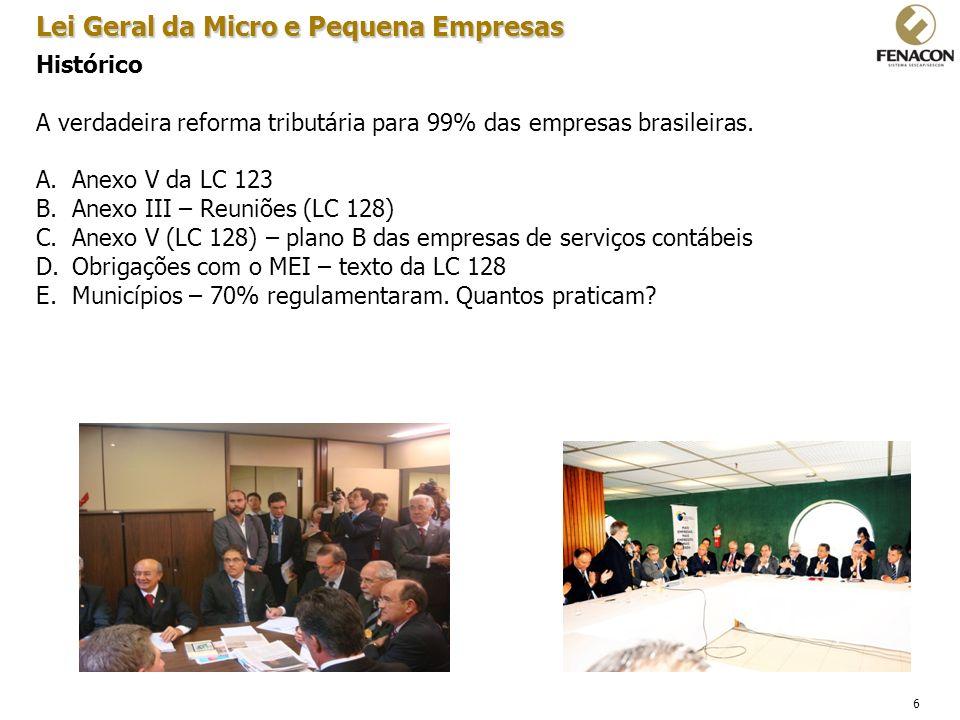 6 Histórico A verdadeira reforma tributária para 99% das empresas brasileiras. A.Anexo V da LC 123 B.Anexo III – Reuniões (LC 128) C.Anexo V (LC 128)