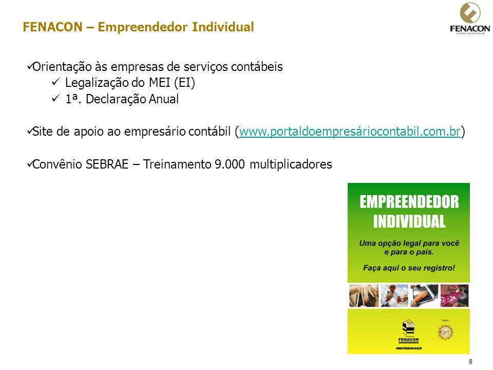 8 Orientação às empresas de serviços contábeis Legalização do MEI (EI) 1ª. Declaração Anual Site de apoio ao empresário contábil (www.portaldoempresár