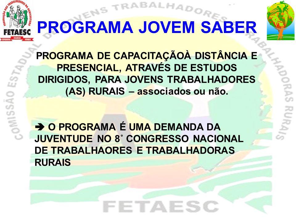 PROGRAMA JOVEM SABER OBJETIVO DO PROGRAMA: CAPACITAR JOVENS A PARTIR DE TRÊS EIXOS DE ESTUDO FORMAÇÃO PROFISSIONAL FORMAÇÃO POLÍTICA SINDICAL FORMAÇÃO POLÍTICA PÚBLICA ENFOQUE DOS TEMAS: Desenvolvimento rural sustentável, educação, agroecologia, organização da produção, cooperativismo, histórico do movimento sindical, planejamento, gênero, organização, gestão sindical, metodologias de trabalho em comunidade, etc.