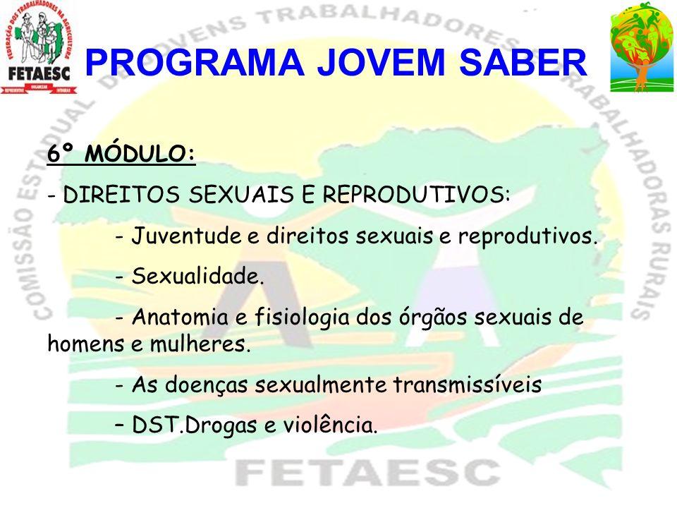 PROGRAMA JOVEM SABER 6º MÓDULO: - DIREITOS SEXUAIS E REPRODUTIVOS: - Juventude e direitos sexuais e reprodutivos. - Sexualidade. - Anatomia e fisiolog