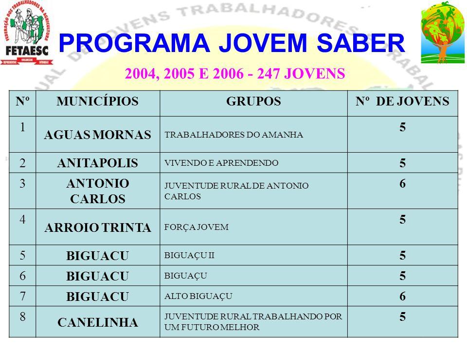 PROGRAMA JOVEM SABER NºMUNICÍPIOSGRUPOSNº DE JOVENS 1 AGUAS MORNAS TRABALHADORES DO AMANHA 5 2ANITAPOLIS VIVENDO E APRENDENDO 5 3 ANTONIO CARLOS JUVEN