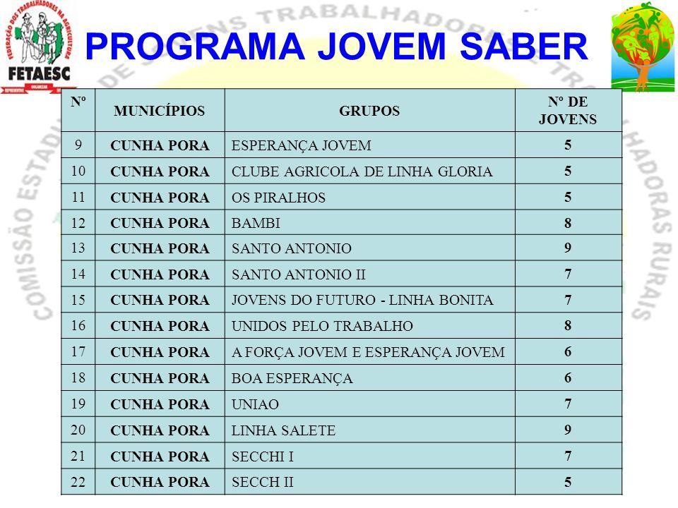 PROGRAMA JOVEM SABER Nº MUNICÍPIOSGRUPOS Nº DE JOVENS 9 CUNHA PORAESPERANÇA JOVEM 5 10 CUNHA PORACLUBE AGRICOLA DE LINHA GLORIA 5 11 CUNHA PORAOS PIRA