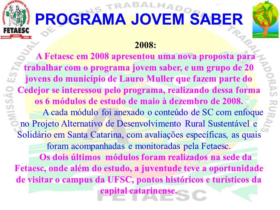 PROGRAMA JOVEM SABER 2008: A Fetaesc em 2008 apresentou uma nova proposta para trabalhar com o programa jovem saber, e um grupo de 20 jovens do municí