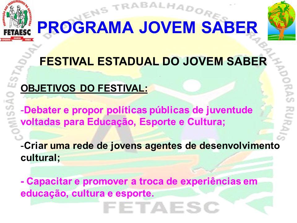 PROGRAMA JOVEM SABER FESTIVAL ESTADUAL DO JOVEM SABER OBJETIVOS DO FESTIVAL: -Debater e propor políticas públicas de juventude voltadas para Educação,