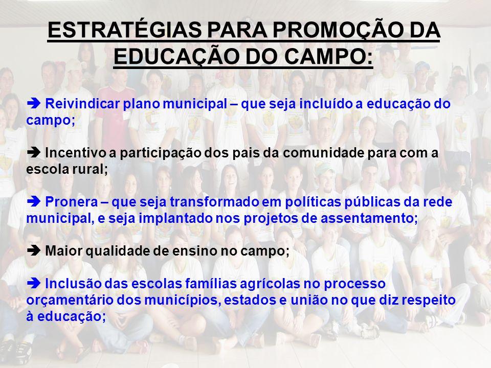ESTRATÉGIAS PARA PROMOÇÃO DA EDUCAÇÃO DO CAMPO: Reivindicar plano municipal – que seja incluído a educação do campo; Incentivo a participação dos pais