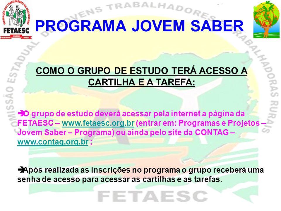 PROGRAMA JOVEM SABER NºMUNICÍPIOSGRUPOSNº DE JOVENS 1 AGUAS MORNAS TRABALHADORES DO AMANHA 5 2ANITAPOLIS VIVENDO E APRENDENDO 5 3 ANTONIO CARLOS JUVENTUDE RURAL DE ANTONIO CARLOS 6 4 ARROIO TRINTA FORÇA JOVEM 5 5 BIGUACU BIGUAÇU II 5 6 BIGUACU BIGUAÇU 5 7 BIGUACU ALTO BIGUAÇU 6 8 CANELINHA JUVENTUDE RURAL TRABALHANDO POR UM FUTURO MELHOR 5 2004, 2005 E 2006 - 247 JOVENS