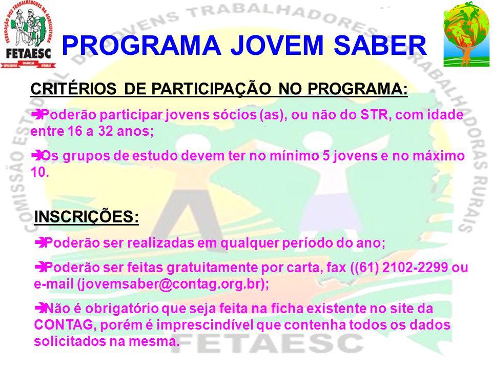 PROGRAMA JOVEM SABER Nº MUNICÍPIOSGRUPOS Nº DE JOVENS 9 CUNHA PORAESPERANÇA JOVEM 5 10 CUNHA PORACLUBE AGRICOLA DE LINHA GLORIA 5 11 CUNHA PORAOS PIRALHOS 5 12CUNHA PORABAMBI8 13 CUNHA PORASANTO ANTONIO 9 14 CUNHA PORASANTO ANTONIO II 7 15 CUNHA PORAJOVENS DO FUTURO - LINHA BONITA 7 16 CUNHA PORAUNIDOS PELO TRABALHO 8 17 CUNHA PORAA FORÇA JOVEM E ESPERANÇA JOVEM 6 18 CUNHA PORABOA ESPERANÇA 6 19 CUNHA PORAUNIAO 7 20 CUNHA PORALINHA SALETE 9 21 CUNHA PORASECCHI I 7 22 CUNHA PORASECCH II 5