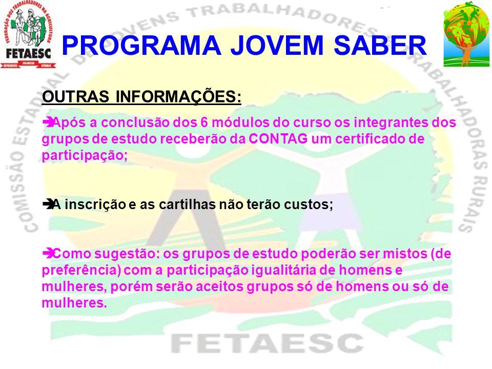 PROGRAMA JOVEM SABER Nº MUNICÍPIOSGRUPOS Nº DE JOVENS 23 IPIRAJUCAP - JOVENS UNIDOS DE CAPELINHA 10 24 IMARUIJOVENS LAVRADORES 5 25 ITUPORANGAOS CEBOLA 5 26 ITUPORANGAÉ NOIS NA FITA 5 27 ITUPORANGAIN NATURA 5 28JACINTO MACHADO UNIAO JUSTIÇA E TRABALHO 5 29MORRO DA FUMACA JUVENTUDE RURAL FUMACENSE 5 30 NAVEGANTESNAVEGA JOVEM RURAL 9