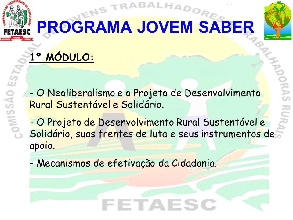PROGRAMA JOVEM SABER 1º MÓDULO: - O Neoliberalismo e o Projeto de Desenvolvimento Rural Sustentável e Solidário. - O Projeto de Desenvolvimento Rural