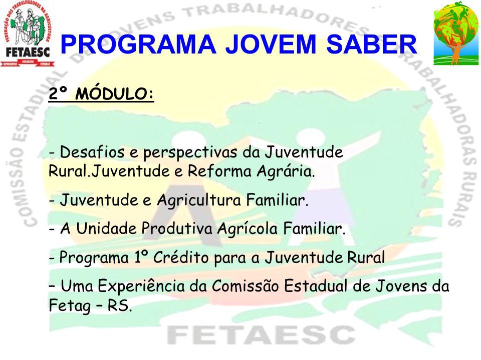 PROGRAMA JOVEM SABER 2º MÓDULO: - Desafios e perspectivas da Juventude Rural.Juventude e Reforma Agrária. - Juventude e Agricultura Familiar. - A Unid