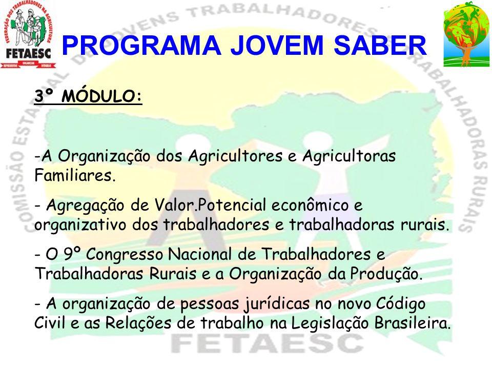 PROGRAMA JOVEM SABER 3º MÓDULO: -A Organização dos Agricultores e Agricultoras Familiares. - Agregação de Valor.Potencial econômico e organizativo dos