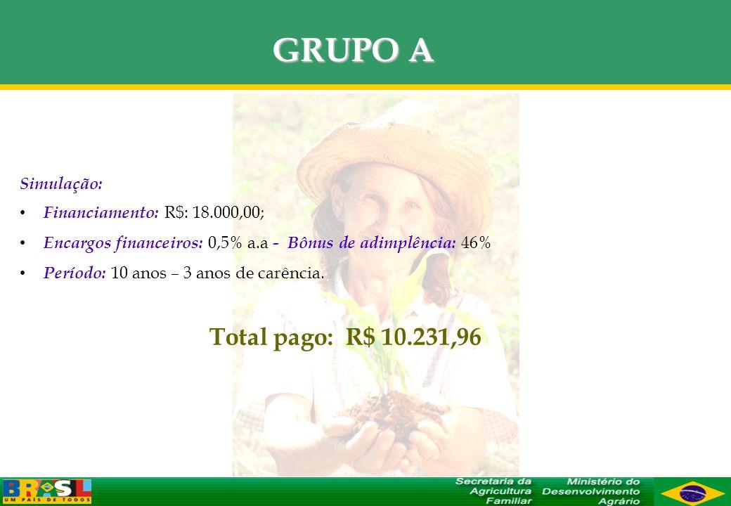 Simulação: Financiamento: R$: 18.000,00; Encargos financeiros: 0,5% a.a - Bônus de adimplência: 46% Período: 10 anos – 3 anos de carência. Total pago: