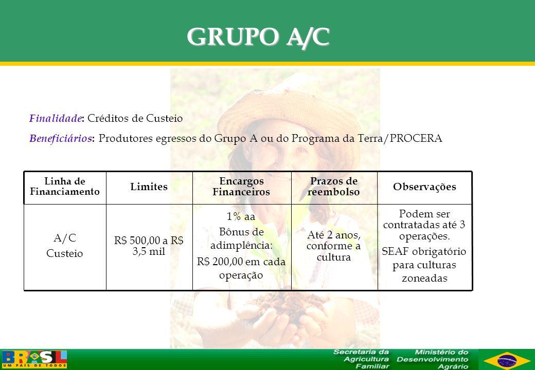 GRUPO A/C Até 2 anos, conforme a cultura Prazos de reembolso Podem ser contratadas até 3 operações. SEAF obrigatório para culturas zoneadas Observaçõe