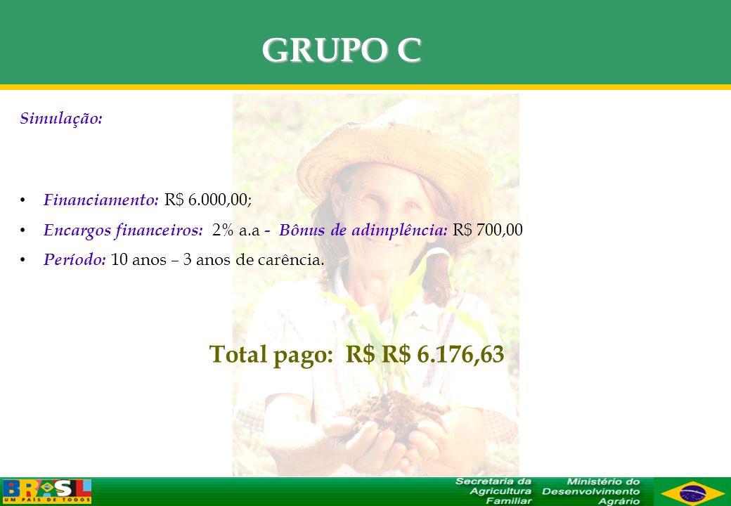 GRUPO C Simulação: Financiamento: R$ 6.000,00; Encargos financeiros: 2% a.a - Bônus de adimplência: R$ 700,00 Período: 10 anos – 3 anos de carência. T