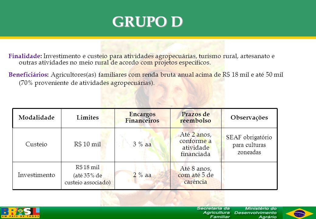 GRUPO D Finalidade: Investimento e custeio para atividades agropecuárias, turismo rural, artesanato e outras atividades no meio rural de acordo com pr