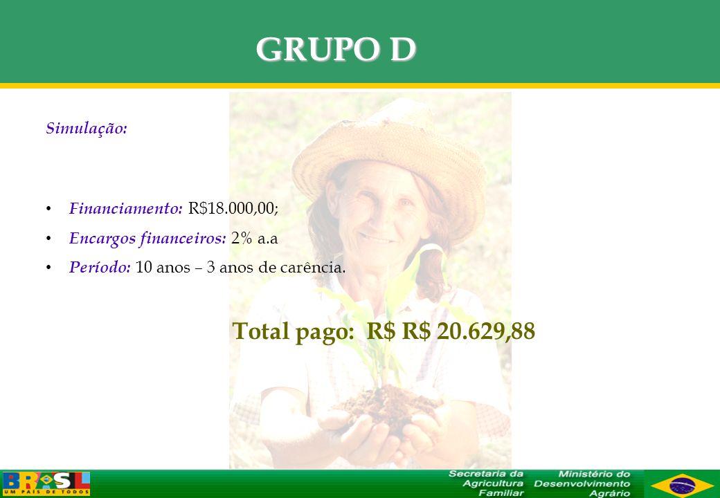 GRUPO D Simulação: Financiamento: R$18.000,00; Encargos financeiros: 2% a.a Período: 10 anos – 3 anos de carência. Total pago: R$ R$ 20.629,88