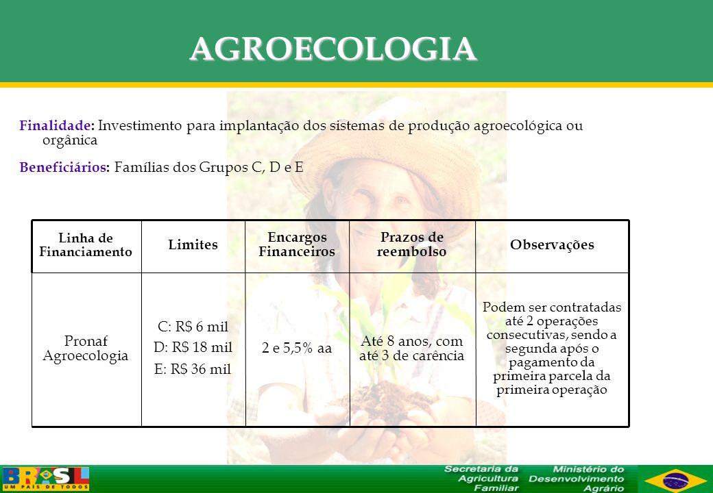 AGROECOLOGIA Finalidade: Investimento para implantação dos sistemas de produção agroecológica ou orgânica Beneficiários: Famílias dos Grupos C, D e E