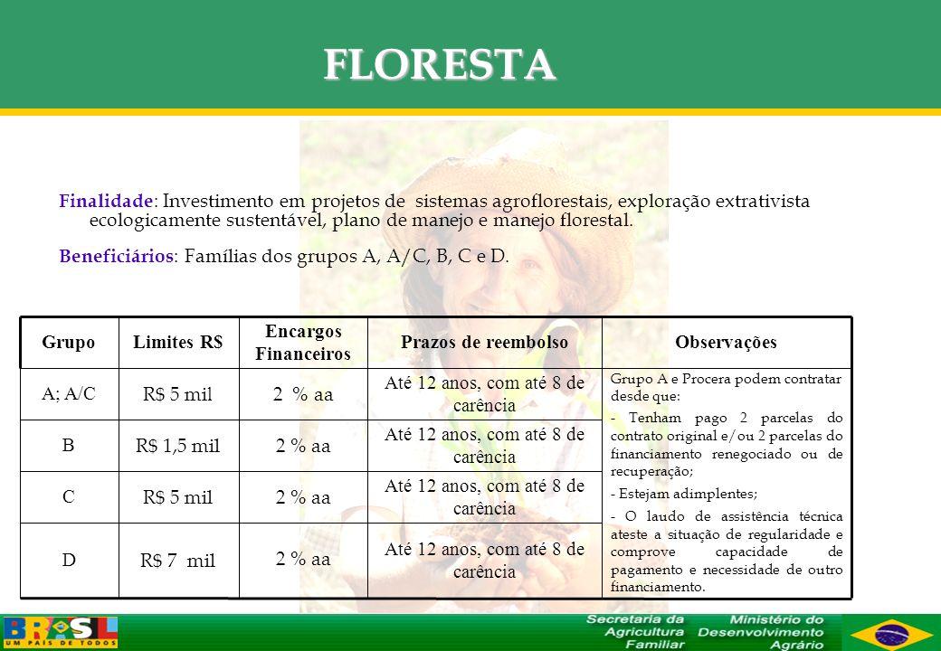 FLORESTA Finalidade : Investimento em projetos de sistemas agroflorestais, exploração extrativista ecologicamente sustentável, plano de manejo e manej