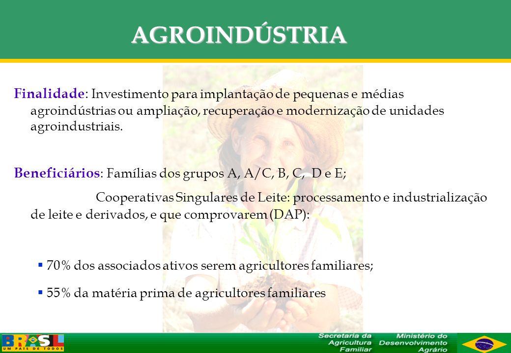 AGROINDÚSTRIA Finalidade : Investimento para implantação de pequenas e médias agroindústrias ou ampliação, recuperação e modernização de unidades agro