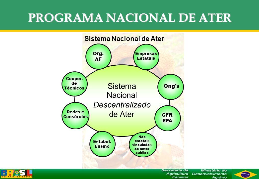 PROGRAMA NACIONAL DE ATER Sistema Nacional de Ater Sistema Nacional Descentralizado de Ater Empresas Estatais CFR EFA Não estatais vinculadas ao setor