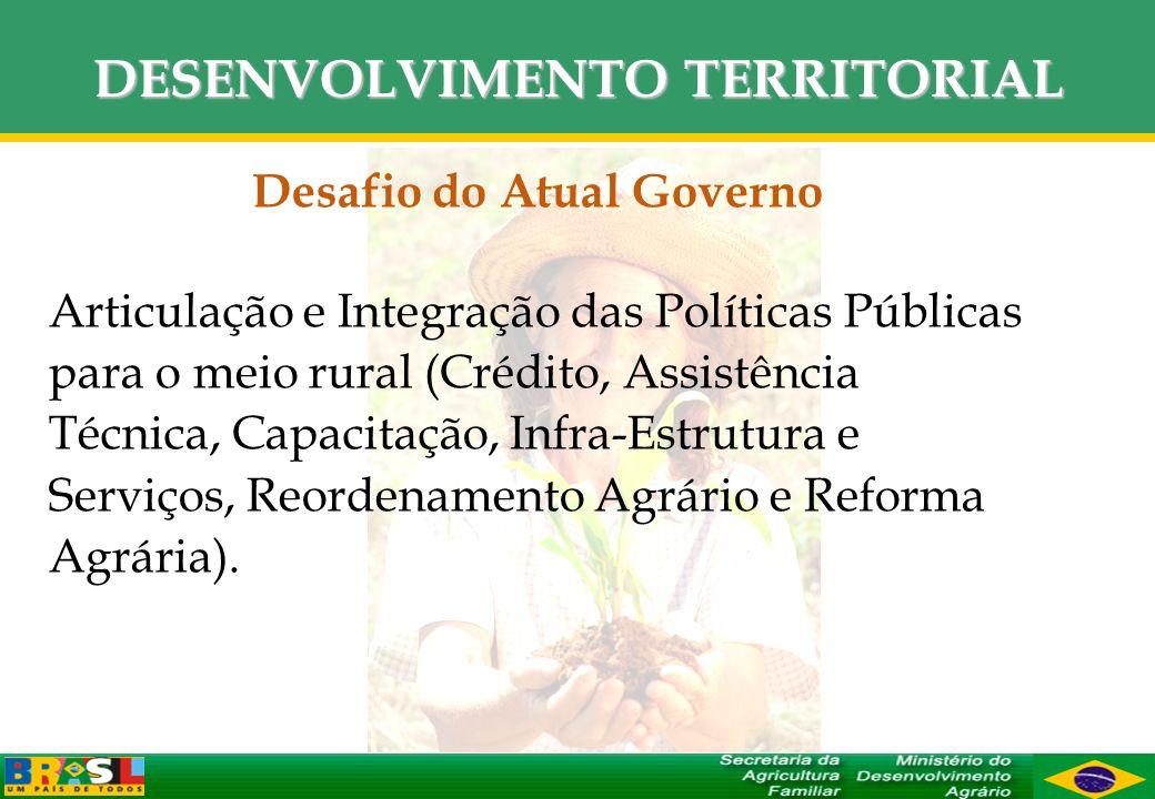 DESENVOLVIMENTO TERRITORIAL Desafio do Atual Governo Articulação e Integração das Políticas Públicas para o meio rural (Crédito, Assistência Técnica,