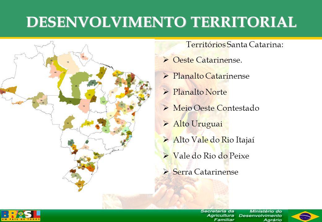 DESENVOLVIMENTO TERRITORIAL Territórios Santa Catarina: Oeste Catarinense. Planalto Catarinense Planalto Norte Meio Oeste Contestado Alto Uruguai Alto