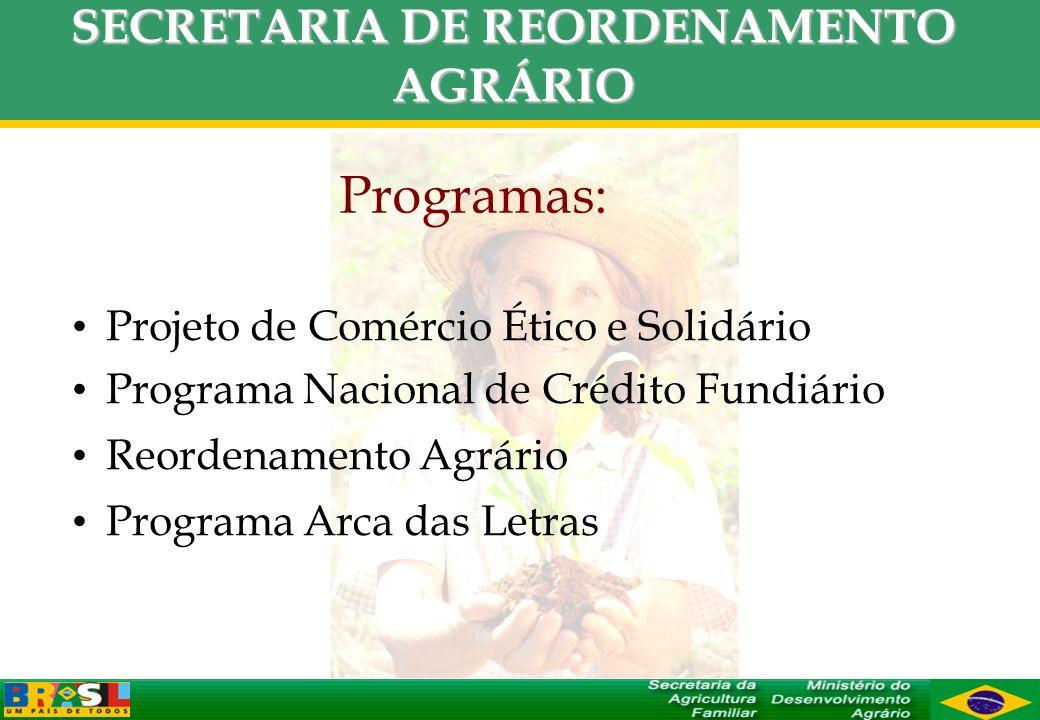 SECRETARIA DE REORDENAMENTO AGRÁRIO Programas: Projeto de Comércio Ético e Solidário Programa Nacional de Crédito Fundiário Reordenamento Agrário Prog
