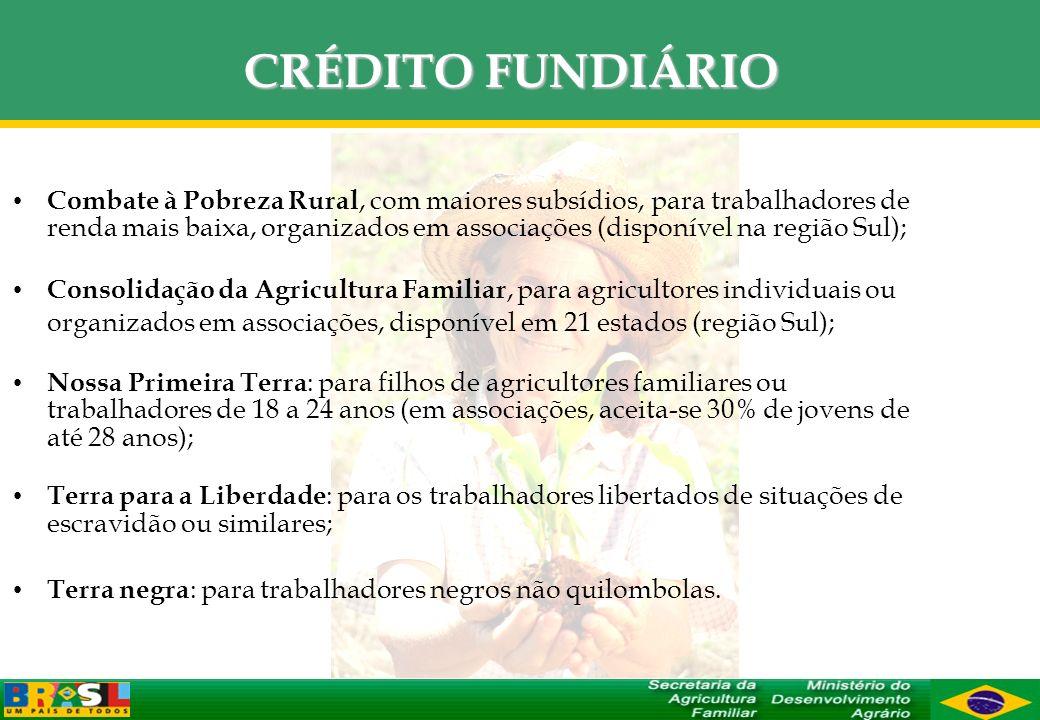 CRÉDITO FUNDIÁRIO Combate à Pobreza Rural, com maiores subsídios, para trabalhadores de renda mais baixa, organizados em associações (disponível na re