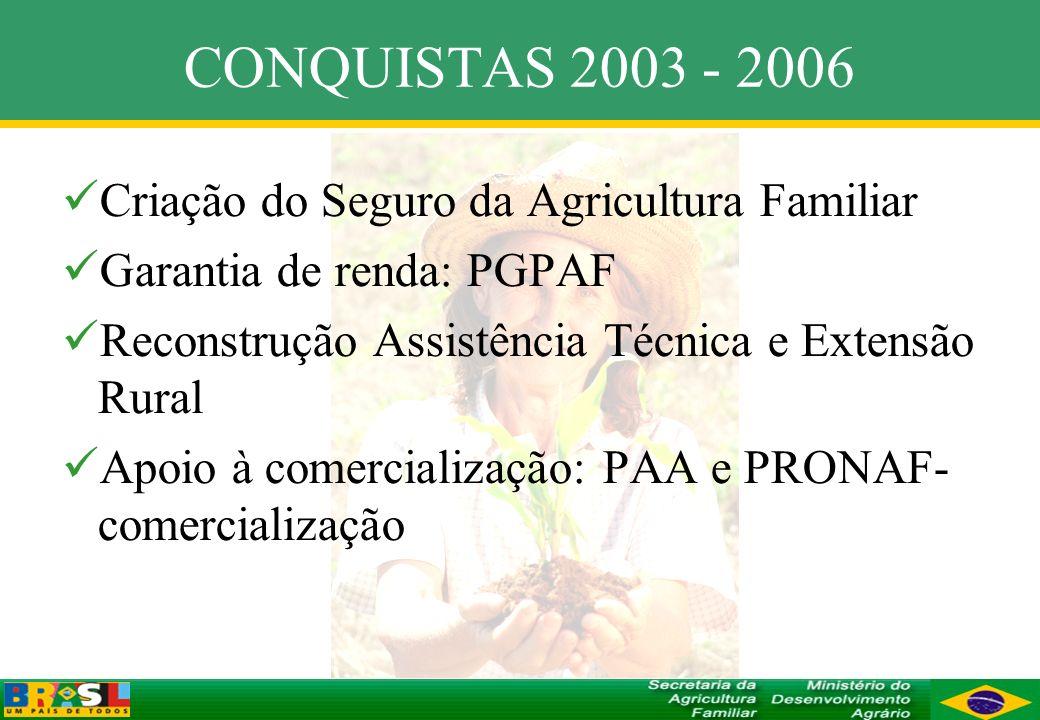 CONQUISTAS 2003 - 2006 Criação do Seguro da Agricultura Familiar Garantia de renda: PGPAF Reconstrução Assistência Técnica e Extensão Rural Apoio à co