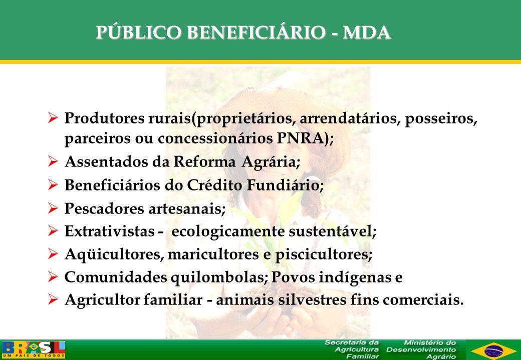 PÚBLICO BENEFICIÁRIO - MDA Produtores rurais(proprietários, arrendatários, posseiros, parceiros ou concessionários PNRA); Assentados da Reforma Agrári