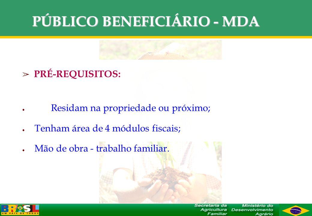 PÚBLICO BENEFICIÁRIO - MDA PRÉ-REQUISITOS: Residam na propriedade ou próximo; Tenham área de 4 módulos fiscais; Mão de obra - trabalho familiar.