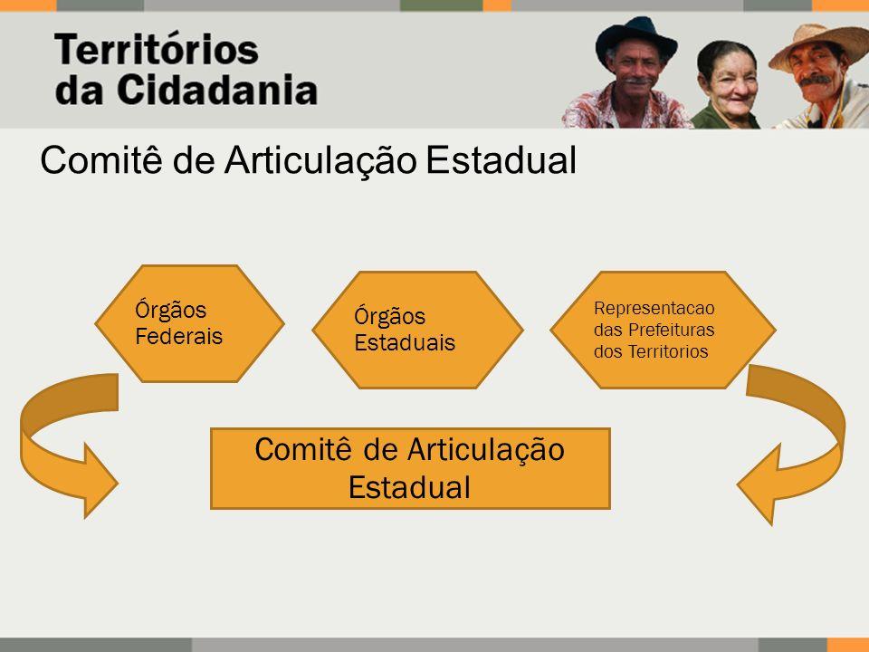 Comitê de Articulação Estadual Órgãos Federais Órgãos Estaduais Comitê de Articulação Estadual Representacao das Prefeituras dos Territorios