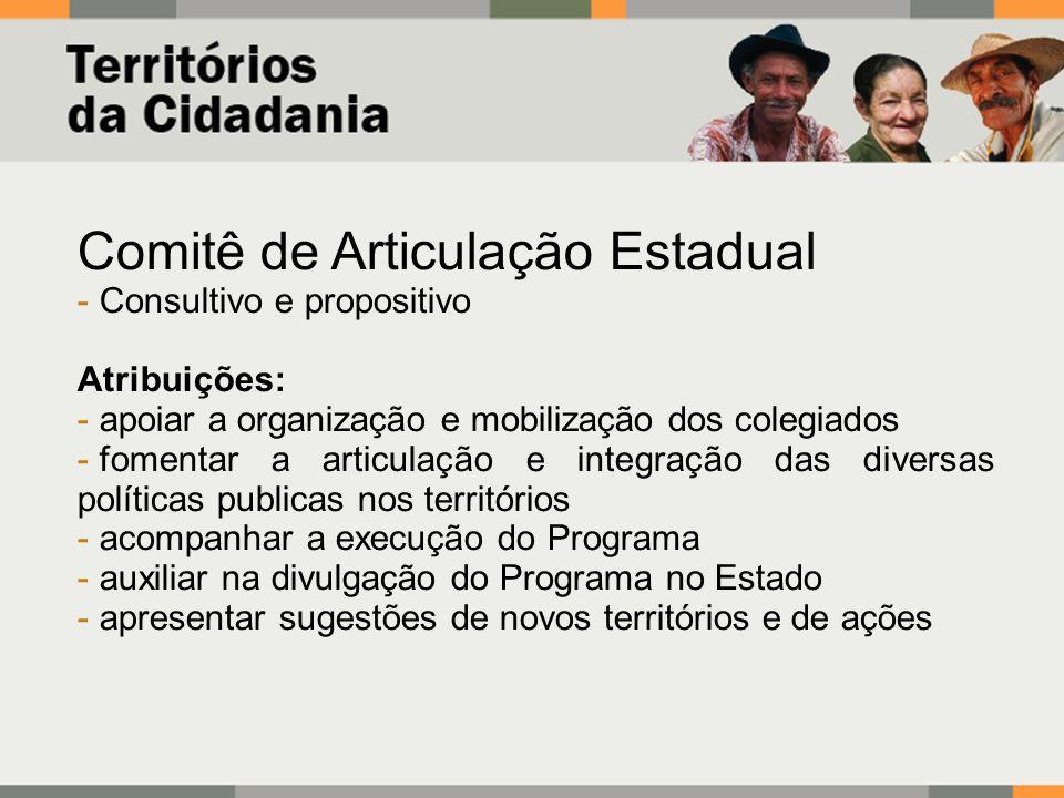 Comitê de Articulação Estadual - Consultivo e propositivo Atribuições: - apoiar a organização e mobilização dos colegiados - fomentar a articulação e