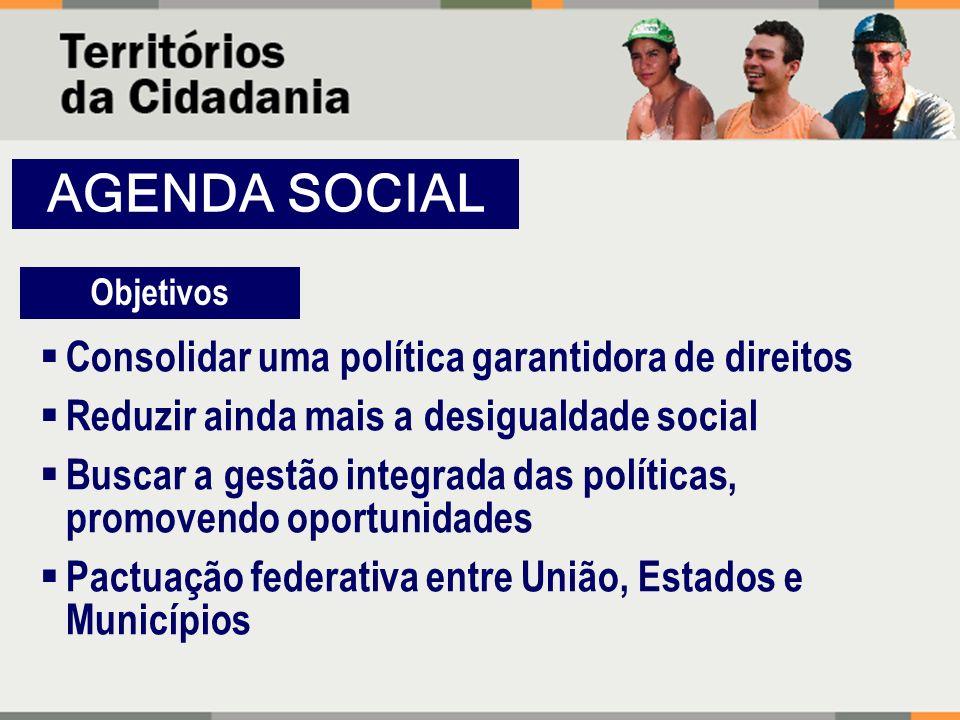 Consolidar uma política garantidora de direitos Reduzir ainda mais a desigualdade social Buscar a gestão integrada das políticas, promovendo oportunid