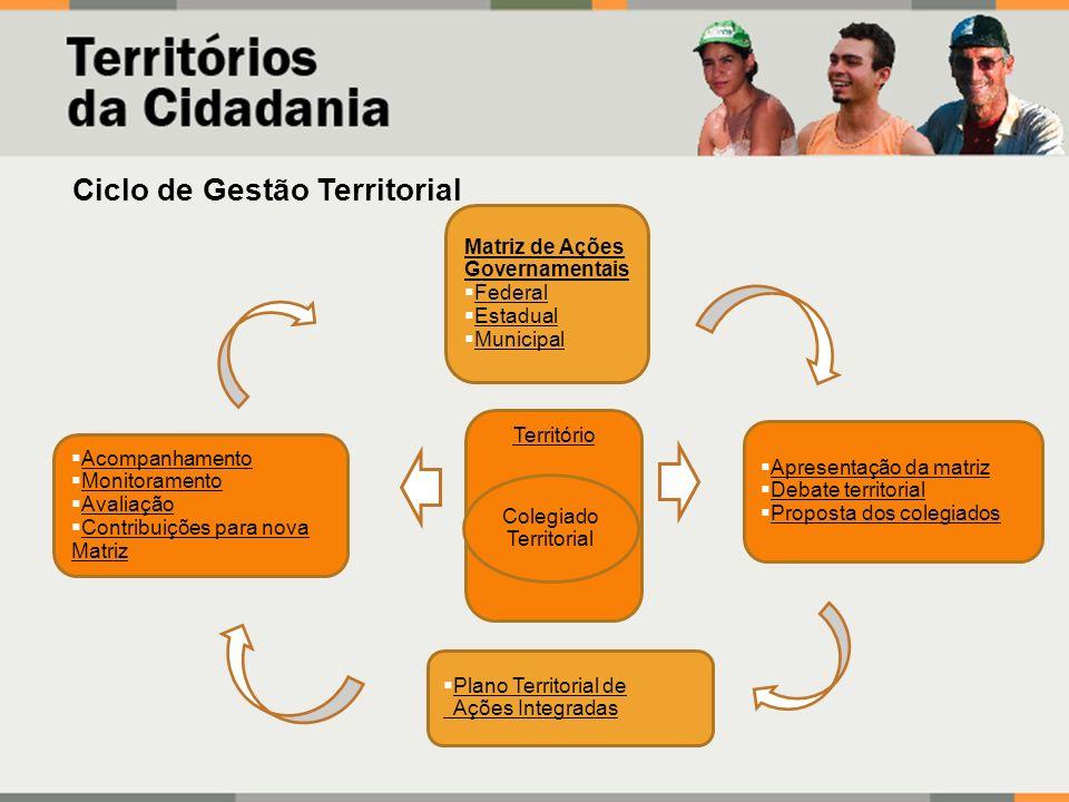 Matriz de Ações Governamentais Federal Estadual Municipal Apresentação da matriz Debate territorial Proposta dos colegiados Acompanhamento Monitoramen
