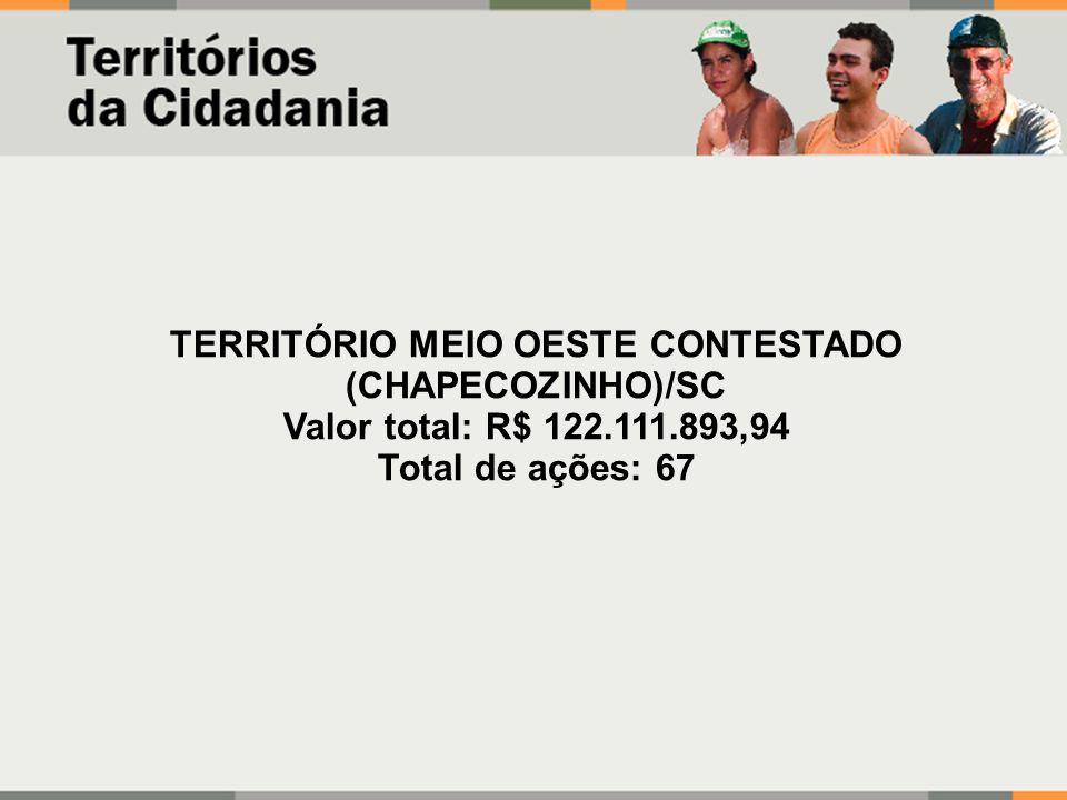 TERRITÓRIO MEIO OESTE CONTESTADO (CHAPECOZINHO)/SC Valor total: R$ 122.111.893,94 Total de ações: 67