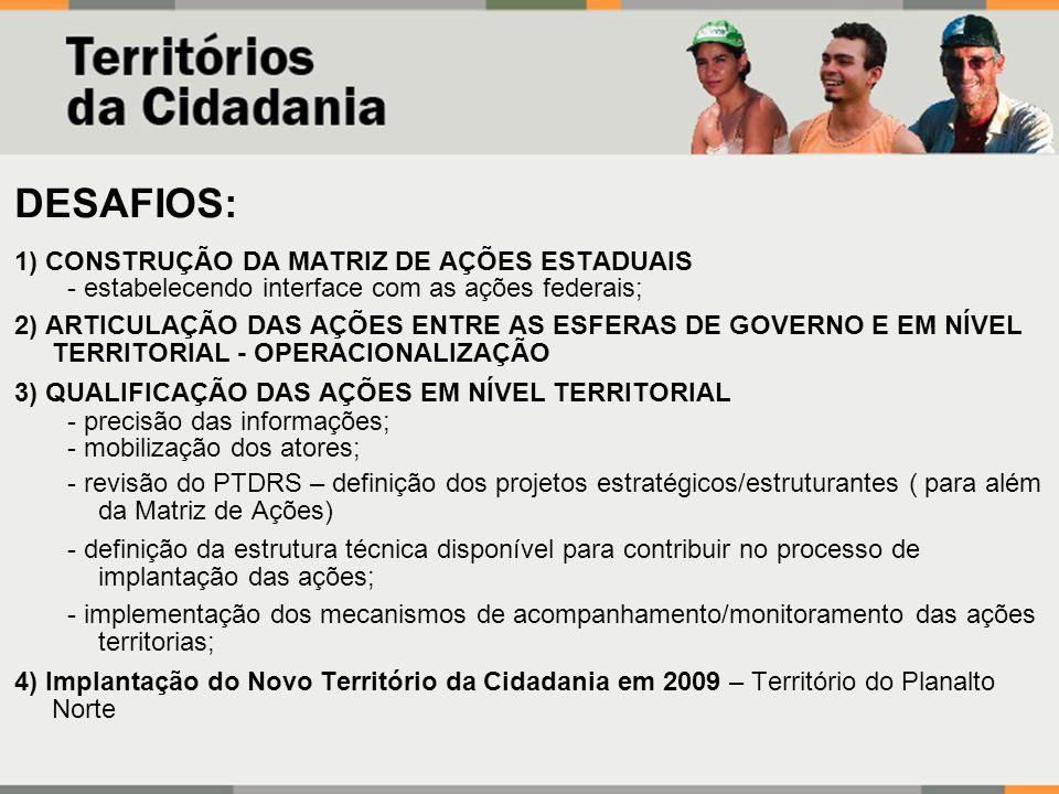 DESAFIOS: 1) CONSTRUÇÃO DA MATRIZ DE AÇÕES ESTADUAIS - estabelecendo interface com as ações federais; 2) ARTICULAÇÃO DAS AÇÕES ENTRE AS ESFERAS DE GOV