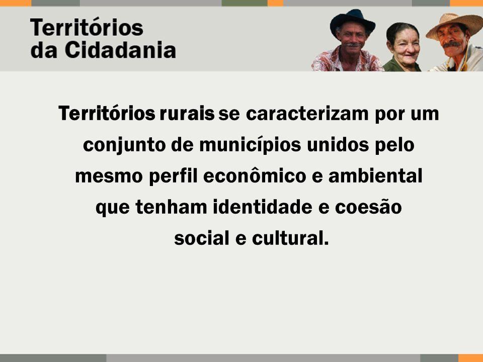 Territórios rurais se caracterizam por um conjunto de municípios unidos pelo mesmo perfil econômico e ambiental que tenham identidade e coesão social