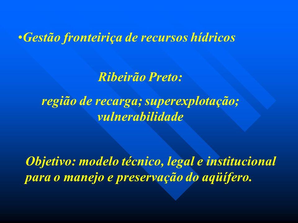 Gestão fronteiriça de recursos hídricos Ribeirão Preto: região de recarga; superexplotação; vulnerabilidade Objetivo: modelo técnico, legal e institucional para o manejo e preservação do aqüífero.