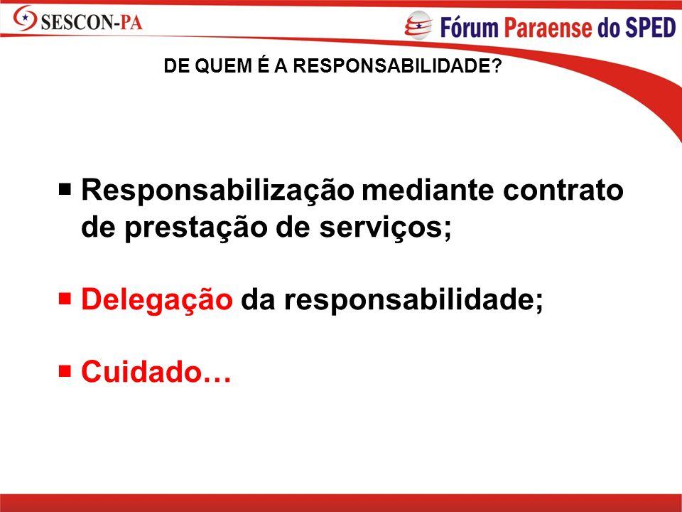 Responsabilização mediante contrato de prestação de serviços; Delegação da responsabilidade; Cuidado… DE QUEM É A RESPONSABILIDADE?