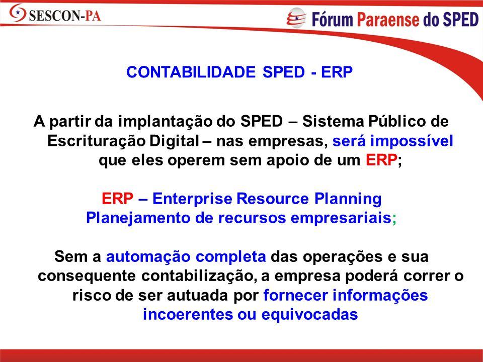 CONTABILIDADE SPED - ERP A partir da implantação do SPED – Sistema Público de Escrituração Digital – nas empresas, será impossível que eles operem sem