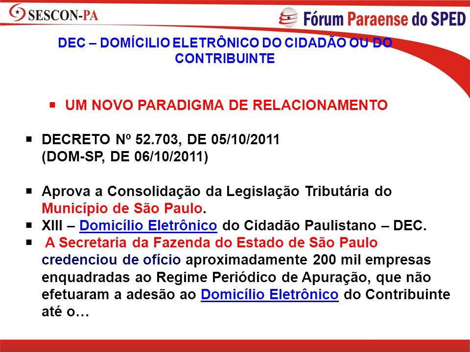 UM NOVO PARADIGMA DE RELACIONAMENTO DECRETO Nº 52.703, DE 05/10/2011 (DOM-SP, DE 06/10/2011) Aprova a Consolidação da Legislação Tributária do Municíp