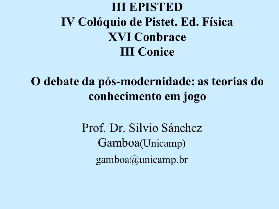 III EPISTED IV Colóquio de Pistet. Ed. Física XVI Conbrace III Conice O debate da pós-modernidade: as teorias do conhecimento em jogo Prof. Dr. Silvio