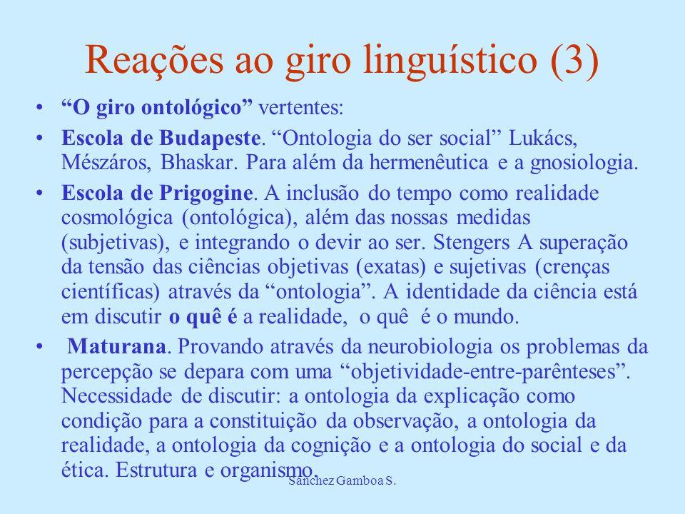 Sánchez Gamboa S. Reações ao giro linguístico (3) O giro ontológico vertentes: Escola de Budapeste. Ontologia do ser social Lukács, Mészáros, Bhaskar.