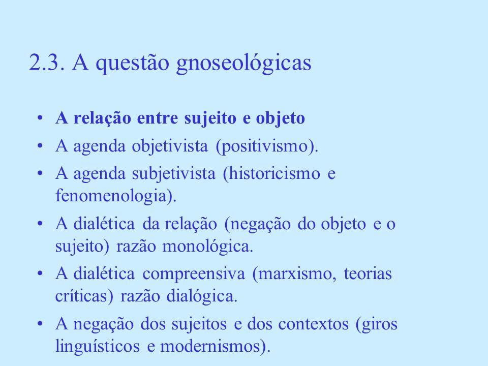 2.3. A questão gnoseológicas A relação entre sujeito e objeto A agenda objetivista (positivismo). A agenda subjetivista (historicismo e fenomenologia)