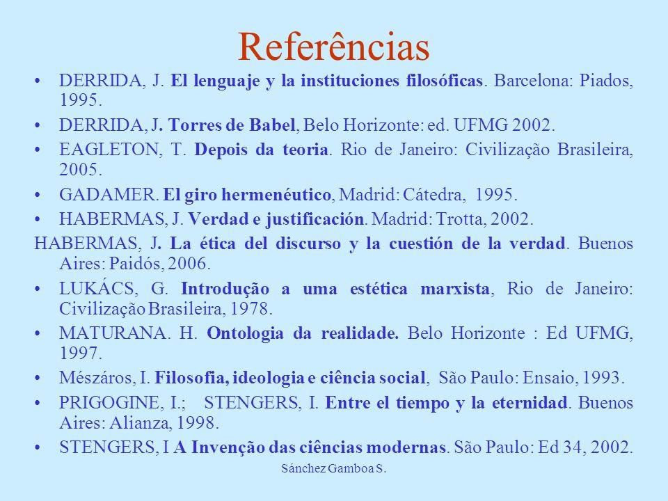 Sánchez Gamboa S. Referências DERRIDA, J. El lenguaje y la instituciones filosóficas. Barcelona: Piados, 1995. DERRIDA, J. Torres de Babel, Belo Horiz